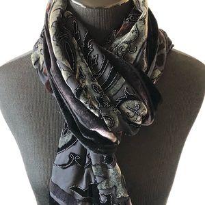 Accessories - ELEGANT Burnout Black & Silver Scarf/Wrap